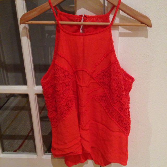 Orange Crochet Detail Top