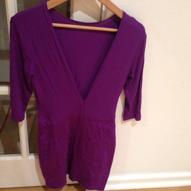 Purple Body-con Long Sleeve Dress