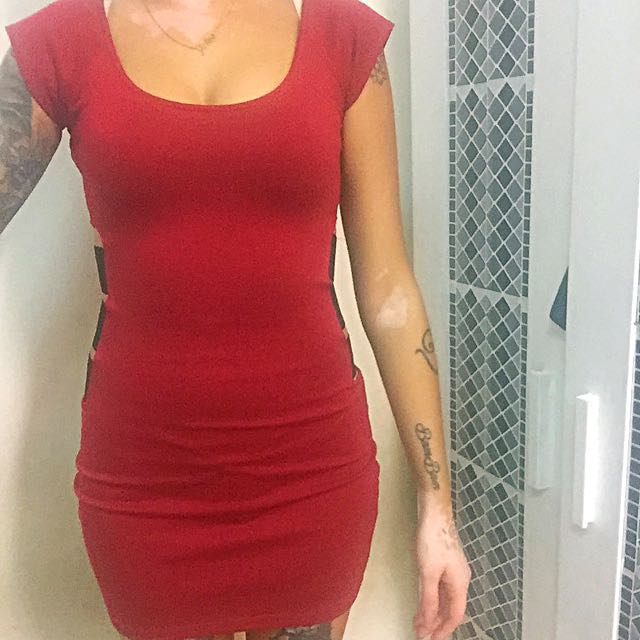 Red Dress With Side Cut Outs