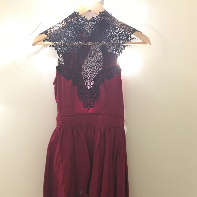 Red party dress with black lace detail