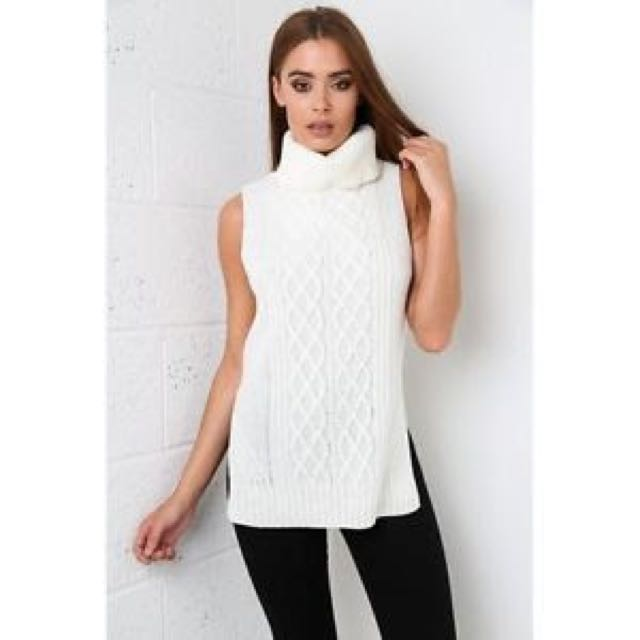 Roll Neck Sleeveless Cable Knit