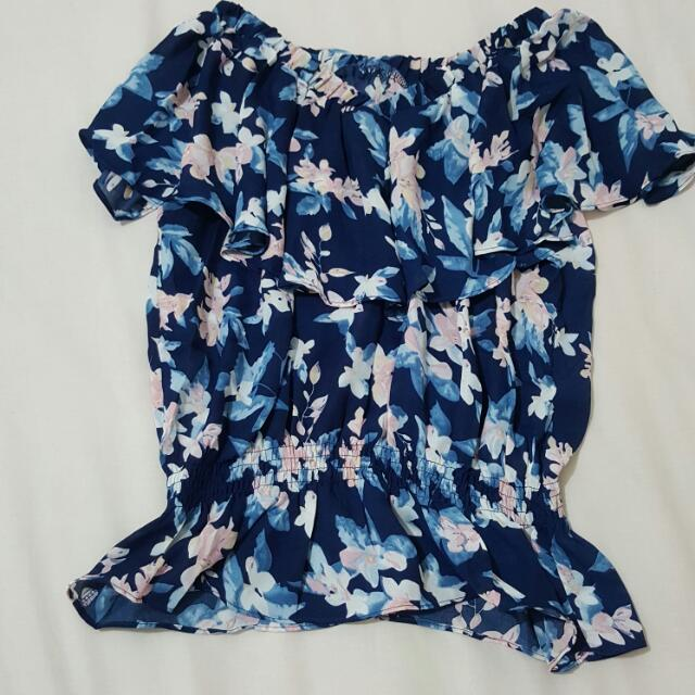 (Final Price) Sabrina Blouse Blue Flower