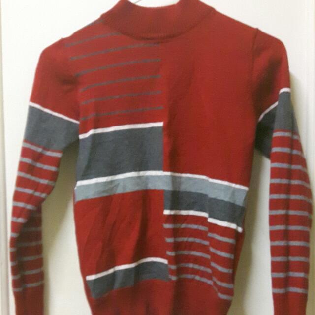 Sports Wave Red Knit Jumper