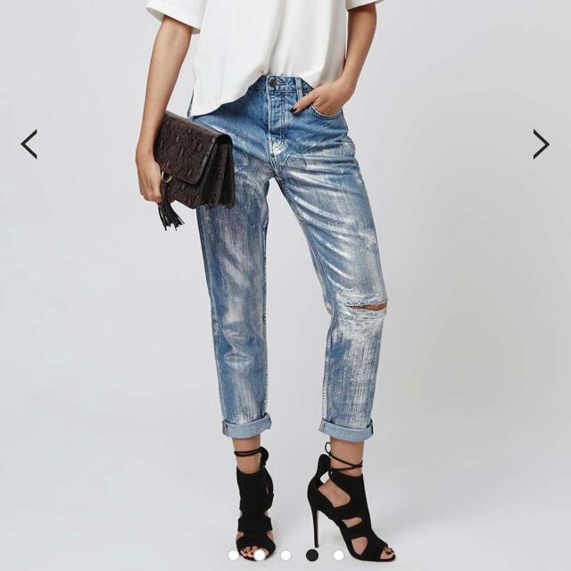 Topshop Metallic Jeans