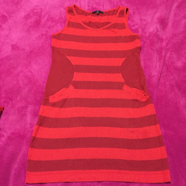 Tyler Casual Red Striped Dress (approx Size 8-10)