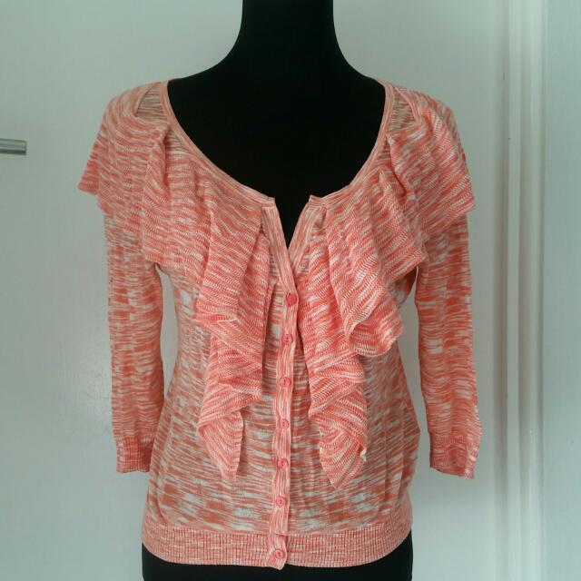 REDUCED! Witchery Coral Cardigan with Ruffle detailing medium Size