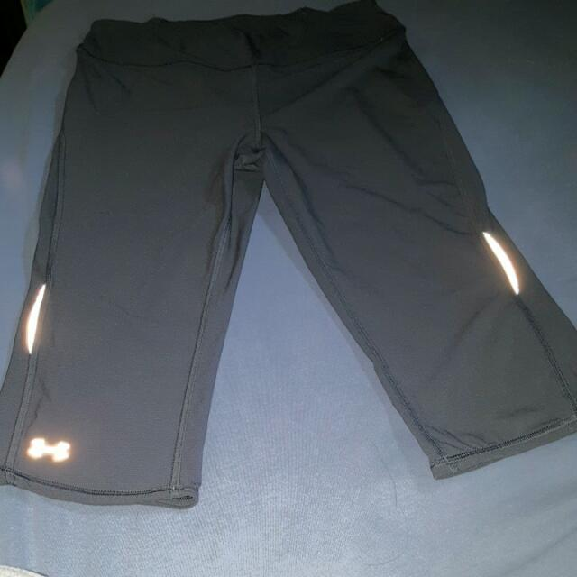 Work Out Capris Brand: Under Armour Size: Medium Color: Grey Back Zipper Pocket, Reflectors