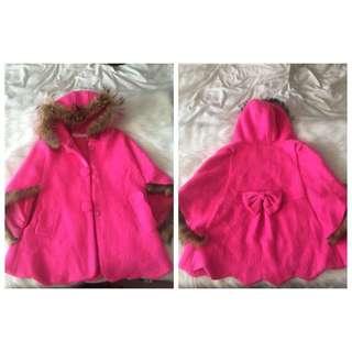 Pink Fur Winter Poncho