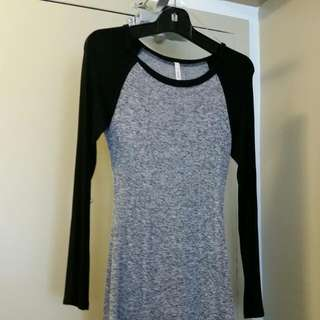 RESERVED Sz S Raglan Long Sleeved Bodycon Tshirt Dress