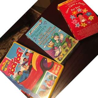 Wiggles, Richard Scarry, Once Upon a Potty (girl version) and Fly Away Home VHS tapes