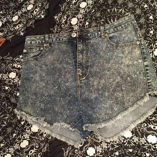 🔴Acid Wash High-Waisted Shorts