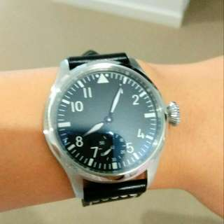 💥🆕💥Black Dial 46mm Hand Winding Automatic Watch,IWC Style,Sea-gull Movements