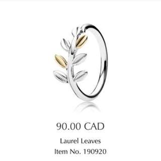 Laurel Leaves Silver And Gold Ring, Size 6