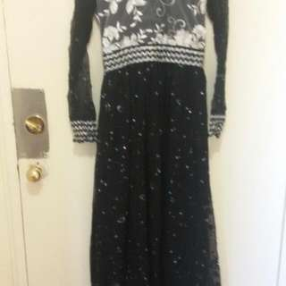 Long Frock  (Silver And Black)