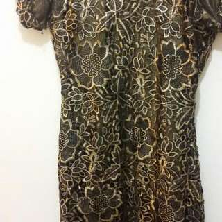 Net Shirt Black And Golden