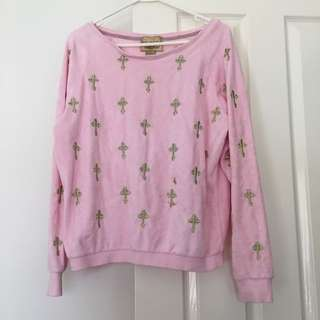 wildfox top jumper pink oversized