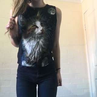 Galaxy Cat Top