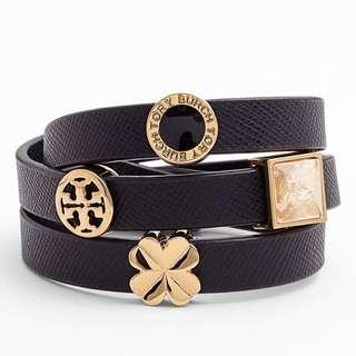 Tory Burch Sliding Charms Leather Wrap Bracelet. 100% ORI!!