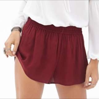 forever 21 flowy bergundy shorts