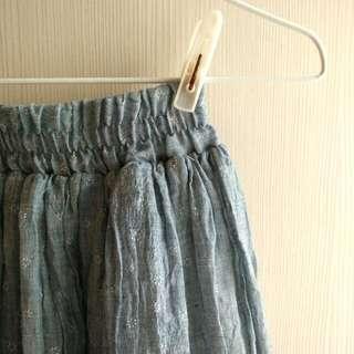棉麻灰藍色長裙