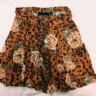 MINKPINK Leopard Print High Waisted Skirt