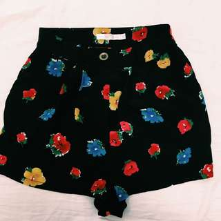 Luck & Trouble Floral High Waisted Shorts