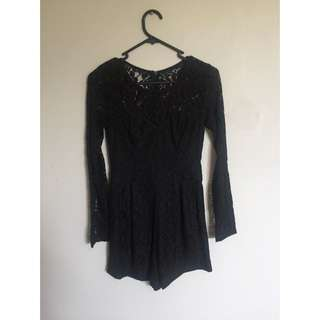 Lace Long Sleeve Playsuit