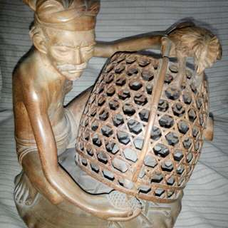 "Teak Wood Old Piece Old Man And Chicken 9""×12"" Sizes In Inches $98 Mark 98711120"