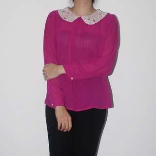 Topshop Pink Collar Shirt
