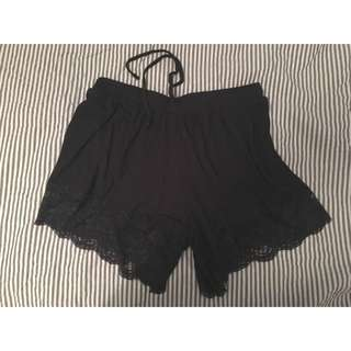 Black Shorts With Lace Bottom