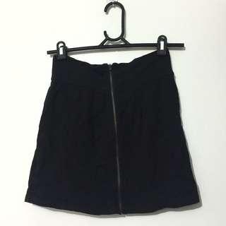 Black Zip Up Mini Skirt