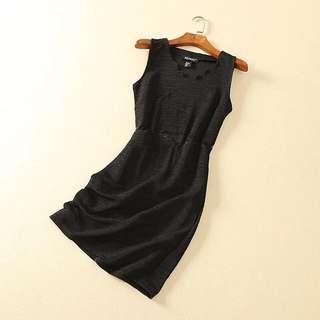 【現貨】外貿原單氣質黑色腰部拼接蕾絲洋裝