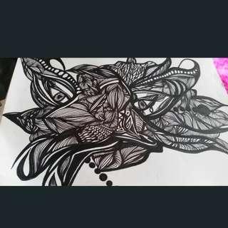 Art Work A4 Zen Tangle