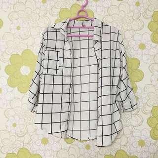 含運📦微寬袖格紋襯衫/外套