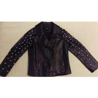 ASOS Real Leather Round studded  Black Biker Jacket