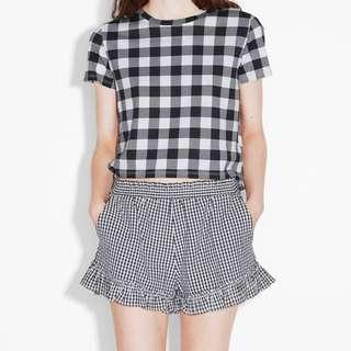 Monki 時尚瑞典第一品牌 休閒黑白菱格短褲 現貨 國外帶回