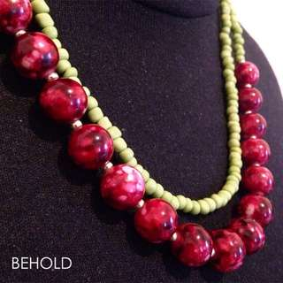 B Necklace (Red) - Kalung Handmade