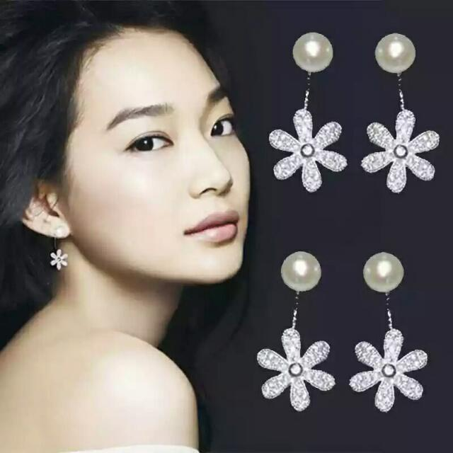 925玫瑰金申敏兒兩件式耳環