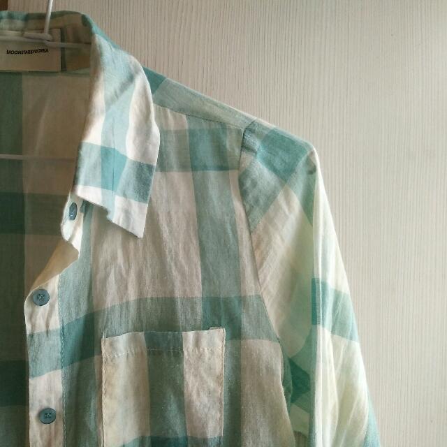 湖水綠長袖襯衫