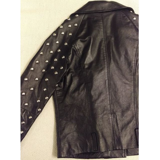 ASOS Real Leather Round studded  Black Biker Jacket