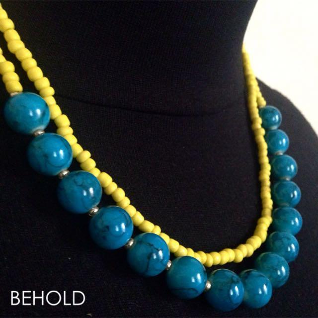 B Necklace (Blue) - Kalung Handmade
