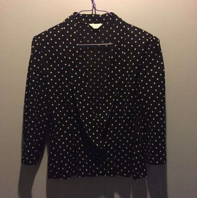 Black And White Polka Dot 3/4 Blazer