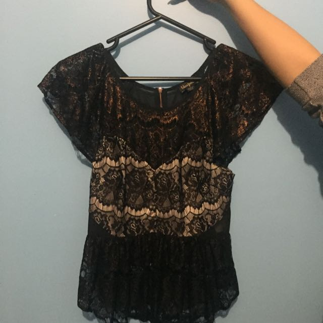 Black Lace Formal Top
