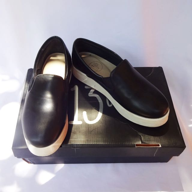 Black White Slip On Platform