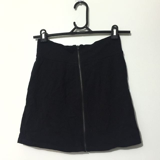 Black Zip Up Mini Skirt