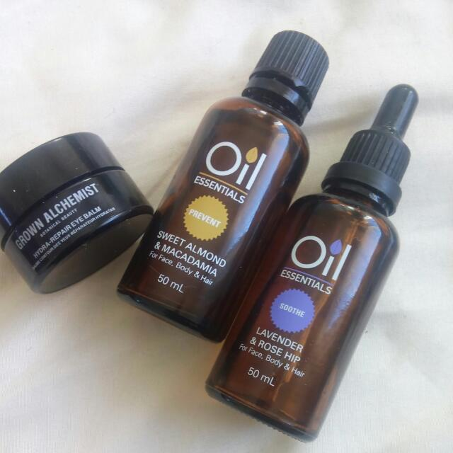 Face And Body Oils And Undereye Repair Balm