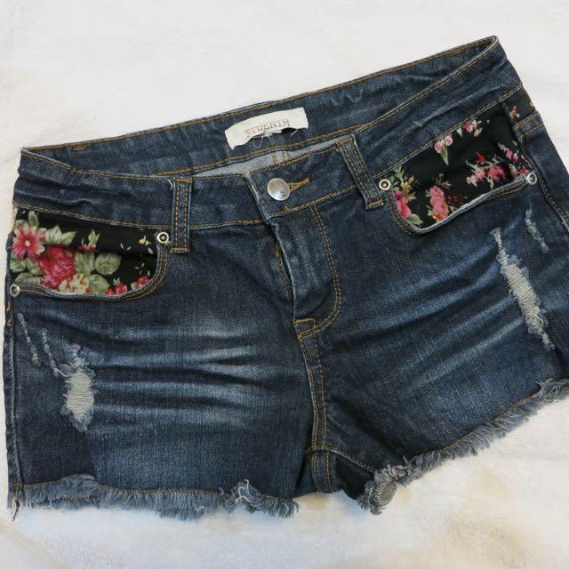 Forever21 Floral Denim Shorts
