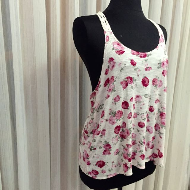 Forever21 Pink Floral Crochet Tank