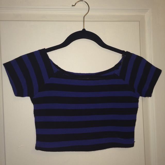Forever 21 Blue Bold Strip Crop Top