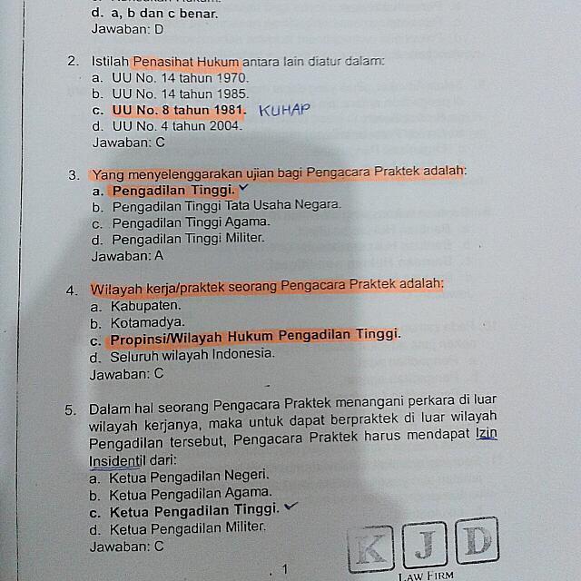 Fotocopy Soal Ujian Profesi Advokat